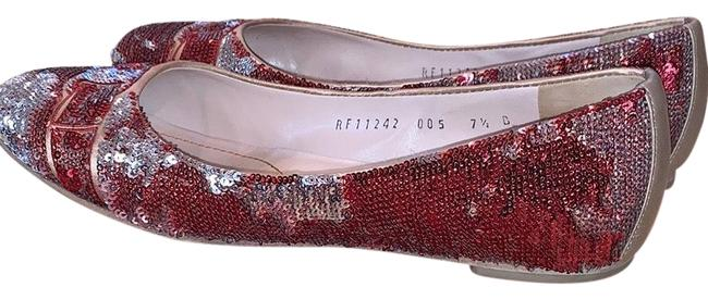 Item - Red / Silver Leather Sequined Signature Flats Pumps Size US 8 Regular (M, B)