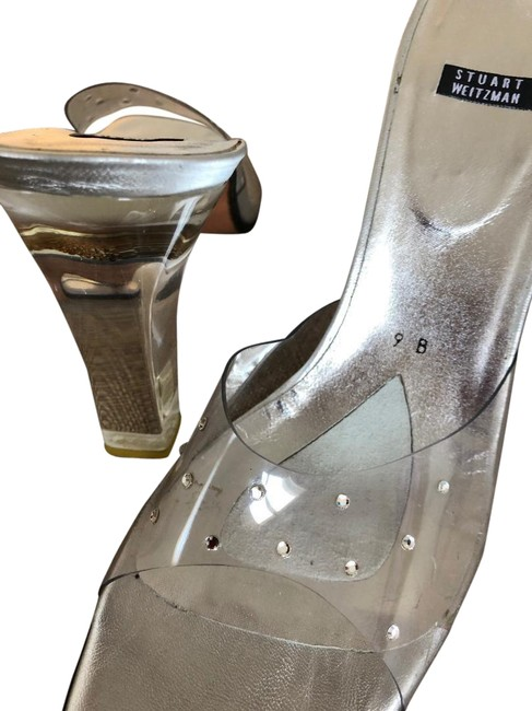 Item - Silver Crystal and Lucite Mules/Slides Size US 9 Regular (M, B)
