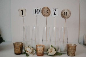 BHLDN Cashier and Rustic Table Numbers Centerpiece
