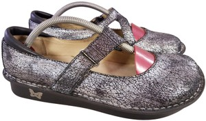 Alegria by PG Lite Distressed Leather Woman Size 39 Jil 752 Mary Janes SILVER Mules