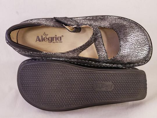 Alegria by PG Lite Distressed Leather Woman Size 39 Jil 752 Mary Janes SILVER Mules Image 2