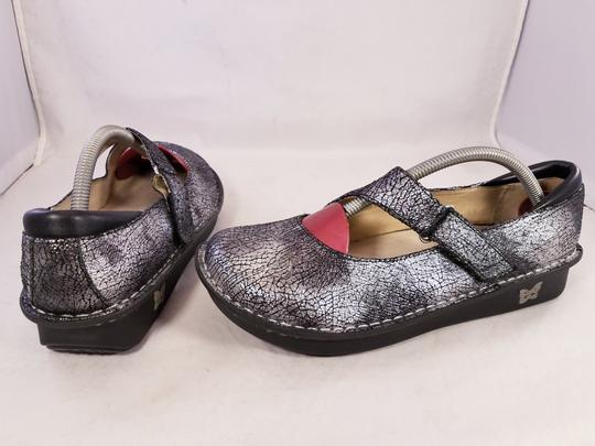 Alegria by PG Lite Distressed Leather Woman Size 39 Jil 752 Mary Janes SILVER Mules Image 5