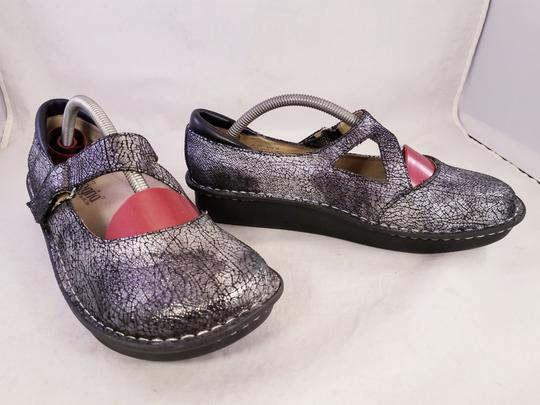 Alegria by PG Lite Distressed Leather Woman Size 39 Jil 752 Mary Janes SILVER Mules Image 7