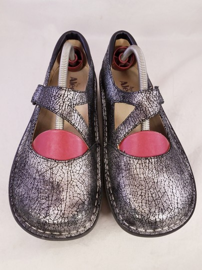 Alegria by PG Lite Distressed Leather Woman Size 39 Jil 752 Mary Janes SILVER Mules Image 8