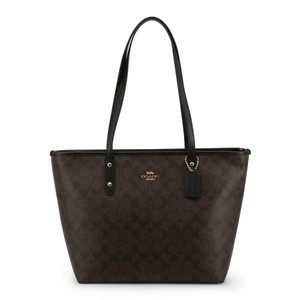 Coach City Signature Leather Canvas Tote in Black/Brown