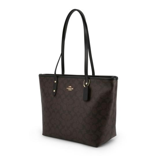Coach City Signature Leather Canvas Tote in Black/Brown Image 1