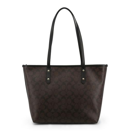 Coach City Signature Leather Canvas Tote in Black/Brown Image 2