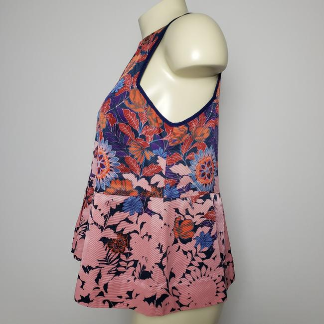 HD in Paris Anthropologie Sleeveless Floral Top RED Image 2