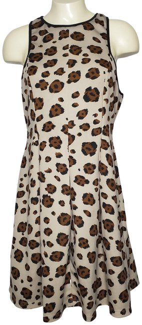 Item - Brown Feather Theme Giraffe Pattern Closed Neck Sleeveless Mid-length Cocktail Dress Size 12 (L)