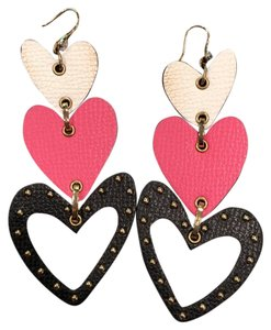 Henri Bendel heart chandelier leather earrings