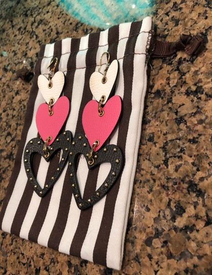 Henri Bendel heart chandelier leather earrings Image 1
