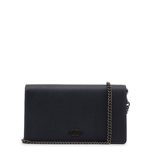 Coach Callie Fold Over Front Flap Chain Leather Blue Clutch