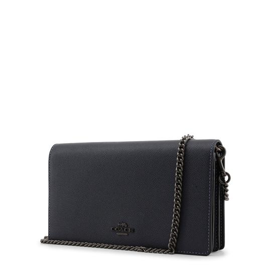 Coach Callie Fold Over Front Flap Chain Leather Blue Clutch Image 1