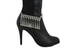 Alwaystyle4you Women Boot Chain Silver Metal Shoe Anklet Beads Dangel Charm Drop