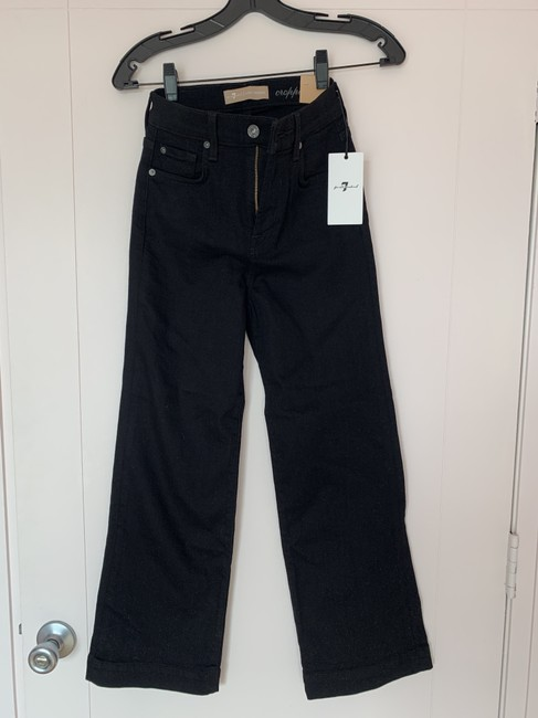 7 For All Mankind Trouser/Wide Leg Jeans-Dark Rinse Image 6