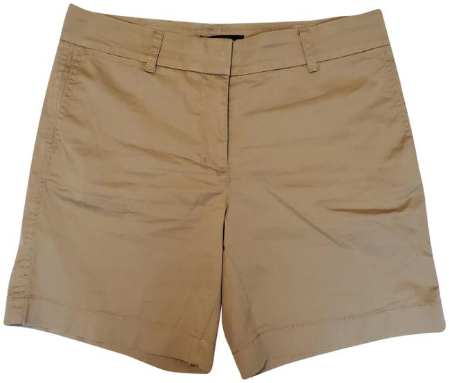 Item - Brown Cotton-elastane Button-hook-fly Chino Flat-front Shorts Size 4 (S, 27)
