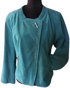Escada Euc Suede Leather Zipper Closure Comfort Elbows Lined Teal Jacket