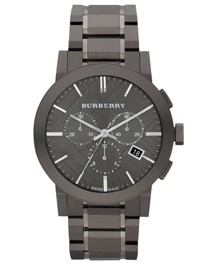 Burberry Large Check Gray Ion Plated Stainless Steel Watch Image 1