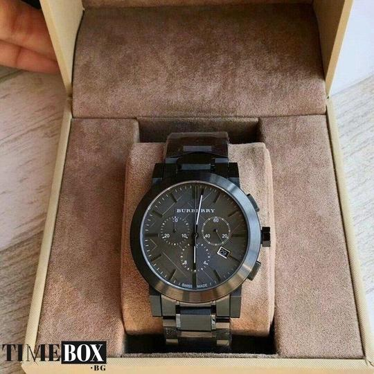 Burberry Large Check Gray Ion Plated Stainless Steel Watch Image 2
