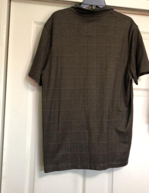Van Heusen T Shirt Moss green with thin black and very light tan square design. Image 1