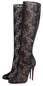 Christian Louboutin Lace Lace Knee High Black Boots