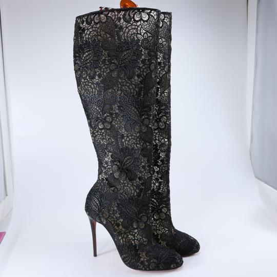 Christian Louboutin Lace Lace Knee High Black Boots Image 2