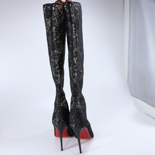 Christian Louboutin Lace Lace Knee High Black Boots Image 5