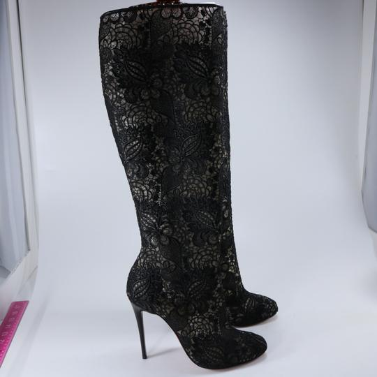 Christian Louboutin Lace Knee High Black Boots Image 1