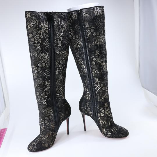 Christian Louboutin Lace Knee High Black Boots Image 2
