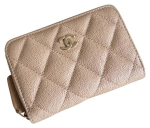 Chanel Chanel Iridescent Beige Zipped Card Holder Wallet with Gold Hardware