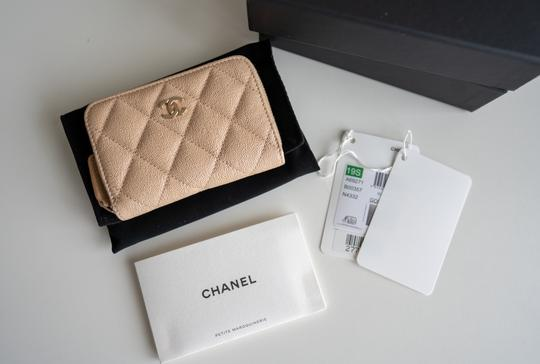 Chanel Chanel Iridescent Beige Zipped Card Holder Wallet with Gold Hardware Image 1