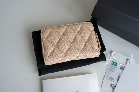 Chanel Chanel Iridescent Beige Zipped Card Holder Wallet with Gold Hardware Image 2