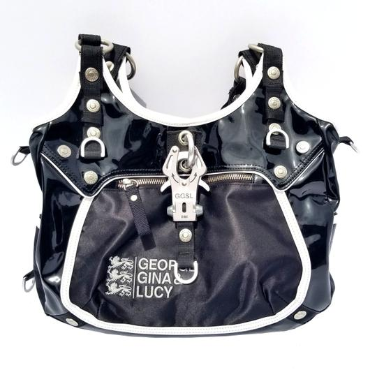 George Gina & Lucy Patent Leather Mixed Media Shoulder Bag Image 3