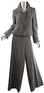 Sonia Rykiel SONIA RYKIEL Black Tan White Tweed Wool Jacket Skirt Pant 3 Piece SUIT