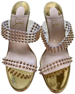 Christian Louboutin Redbottom Spiked Gold Mules