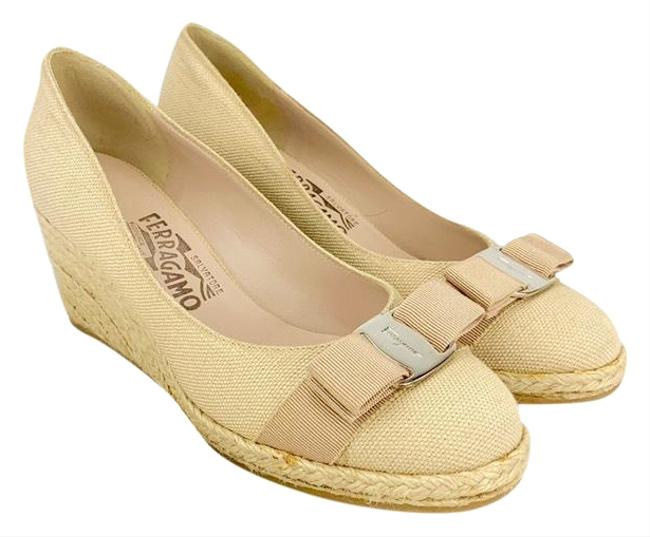 Item - Beige Canvas Darly Bow Espadrille Wedges Size US 7 Wide (C, D)