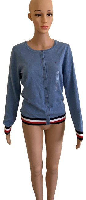 Item - Blue/Red/White Sweater Button-down Top Size 4 (S)
