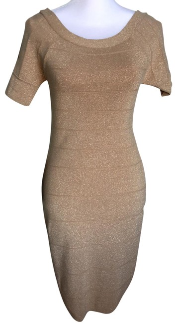 Item - Gold S0be21019500 Mid-length Cocktail Dress Size 12 (L)