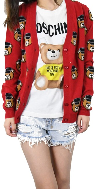 "Item - Red ""Biker Bear"" V-neck /Red Cardigan Size 0 (XS)"