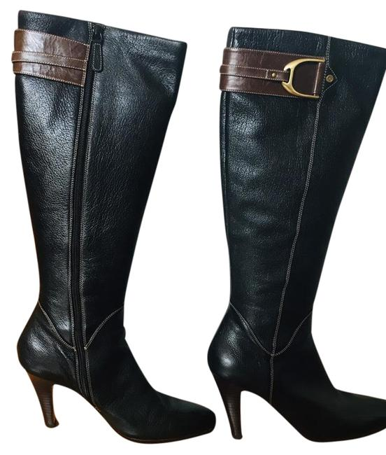 Item - Black with Brown Accents and White Stitching. High-heeled Riding Boots/Booties Size US 10.5 Narrow (Aa, N)