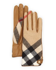 Burberry Burberry Charlotte Check Cashmere & Leather Gloves, Camel