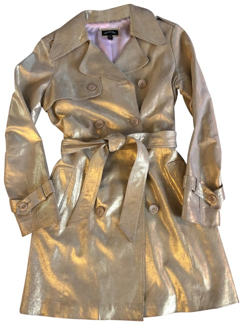 Gold Leather Trench Coat Jacket Size 4 (S) Gold Leather Trench Coat Jacket Size 4 (S) Image 1