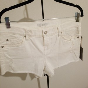 7 For All Mankind Cut Off Shorts White