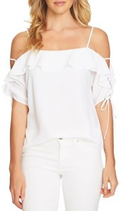 CeCe by Cynthia Steffe Ruffle Crepe Stretchy Monochrome Tie Top White