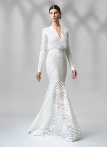 b4264706e1fa Tadashi Shoji Ivory Nylon Self with Poly Jersey Lining Stripe Knit and  Floral Lace Long Sleeve