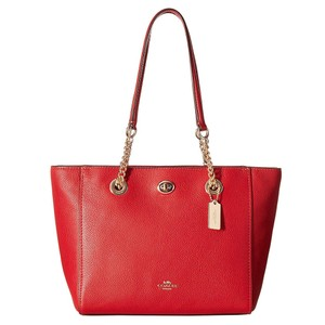 Coach Leather Turnlock Chain Tote in Red