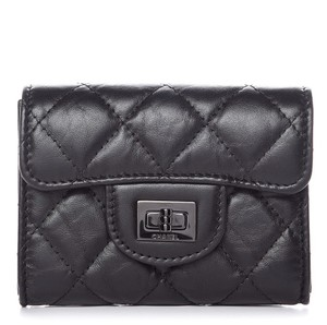 Chanel CHANEL Aged Calfskin Quilted Reissue Flap Card Holder Wallet So Black