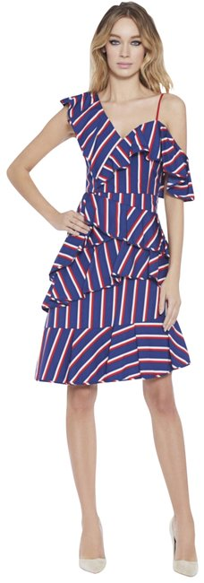 Item - Blue Red White Asymmetric Ruffled Striped Cotton-poplin In Collegiate Stripe Mid-length Night Out Dress Size 6 (S)