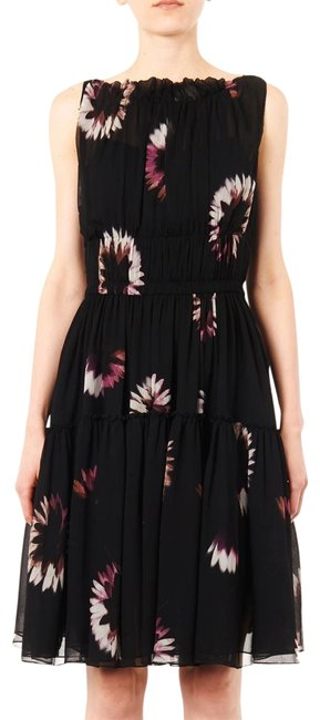 Item - Black Floral Ruched Silk Chiffon Cocktail Dress Size 4 (S)