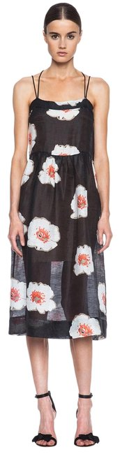 Item - Black Sheer Floral Renee Midi Mid-length Casual Maxi Dress Size 6 (S)